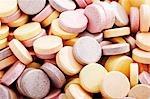 Coloured glucose tablets (full-frame)