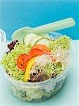 Feuilles de salade avec poivrons, concombres & germes en barquette