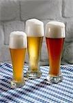Wheat beer in glasses: Hefeweizen (unfiltered), Kristall (filtered) & dark