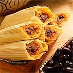 Mini Beef Tamales in Corn Husks; Black Beans