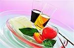 Ingredients for tomato and mozzarella salad