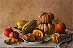 Pumpkin still life on wooden table