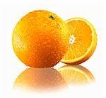 Whole orange and half an orange