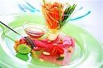 Tuna Tataki with Som Tam (Slice of tuna with papaya salad)