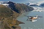 Vol Turbo Beaver voir colonie glacier durant l'été dans le centre-sud de l'Alaska