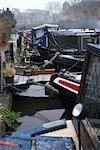 Kanal Liegeplätze im Schnee, Lisson Wide, Regents Canal.