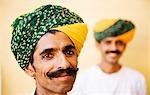 Portrait of two men smiling in a fort, Meherangarh Fort, Jodhpur, Rajasthan, India