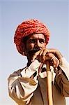 Gros plan d'un berger à la recherche, Jodhpur, Rajasthan, Inde