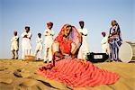 Female Rajasthani dancer in a pose, Jaisalmer, Rajasthan, India