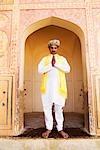 Porträt eines Mannes, Amber Fort, Jaipur, Rajasthan, Indien
