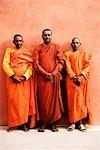 Portrait of three monks, Bodhgaya, Gaya, Bihar, India