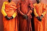 Close-up of three monks, Bodhgaya, Gaya, Bihar, India