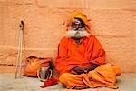 Close-up of a sadhu, Varanasi, Uttar Pradesh, India