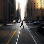 Pedestrian at Intersection, Toronto, Ontario, Canada