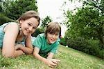 Children Lying on Meadow