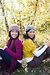 Portrait of friends in woods