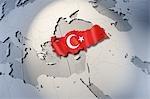 Forme et enseigne en Turquie sur un globe