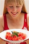 Teller Wassermelone mit Zweig Minze