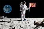 Un astronaute sur la lune, saluant à côté d'un pavillon ouvert là-dessus