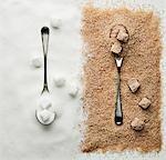 Contraste des cubes de sucre, de sucre et de sucre turbiné avec cuillères