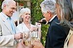 Senior gut gekleidete Paare trinken Champagner