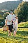 Altes Paar umarmt und mit Picknick-Korb auf Gras