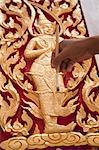 Painting Gold on Thai Teak Wood Craft