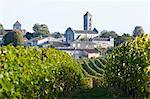 VIGNES au château Saint-Georges avec le VILLAGE et l'église médiévale en fond, vin de SAINT EMILION, BORDEAUX, GIRONDE, AQUITAINE, propriété tout rejet,