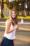 Two Women Playing Tennis, Portland, Oregon, USA