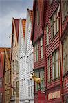 Gebäude in Bryggen, Bergen, Hordaland, Norwegen