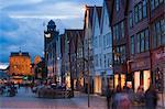 Blick auf Bryggen, Bergen, Hordaland, Norwegen