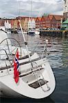 Nahaufnahme des Bootes, Bryggen, Bergen, Hordaland, Norwegen