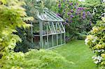 Serre jardin à l'arrière avec les fenêtres ouvertes pour la ventilation