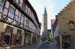 Street in Old Town, Goslar, Goslar District, Harz, Lower Saxony, Germany