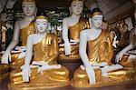 Buddha Statues at Shwedagon Pagoda, Rangoon, Yangon Division, Myanmar