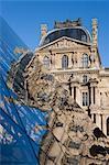IM Pei pyramide dans le Musée du Louvre, 1er Arrondissement, Paris, Ile-de-France, France