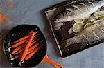 Nature morte de truites et de carottes