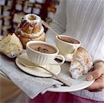 Spiced hot chocolate and individual Kouglof cakes