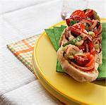 Open mini rouleaux avec céleri, tomates, oignons rouges, concombres et basilic