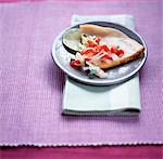 Cheddar cheese quesadillas with salsa and fresh coriander