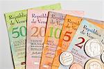 Venezolanischer Münzen und Banknoten (Bolivar Fuerte)