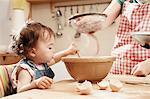 Toddler girl (18 months) baking with mum