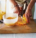 Finely slicing an orange