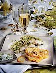 Swordfish in pistachio crust and potato galettes