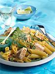 Penne and half-cooked tuna salad
