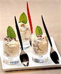 Rice pudding with rum and raisins in Verrines