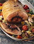 filet d'agneau farcie de Tapenade et confit de légumes