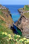 Pont de corde de Carrick-A-Rede, Ballintoy, comté d'Antrim, Irlande du Nord ; Vue de l'Angle haut d'un pont de corde