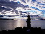 Girl Standing By The Atlantic Ocean, Portstewart, Co. Londonderry, Ireland