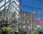 Baggot Street, Dublin, Ireland, Georgian Buildings Reflected In The Windows Of A Modern Office